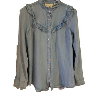 Maeve Chambray Button Down Long Sleeve Top Ruffles